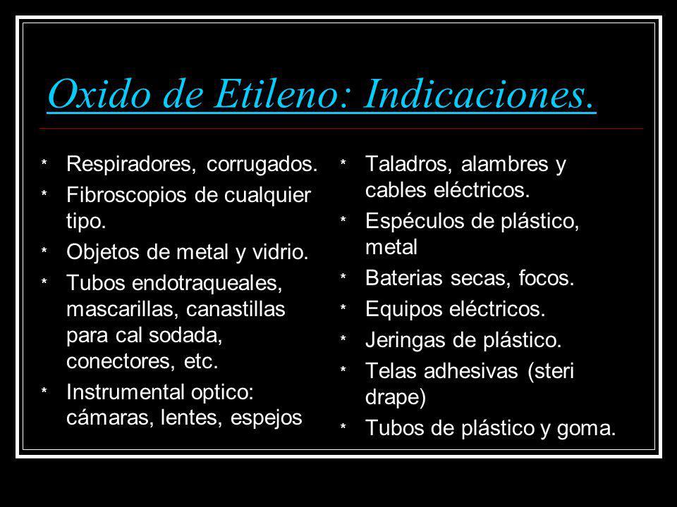 Oxido de Etileno: Indicaciones. * Respiradores, corrugados. * Fibroscopios de cualquier tipo. * Objetos de metal y vidrio. * Tubos endotraqueales, mas