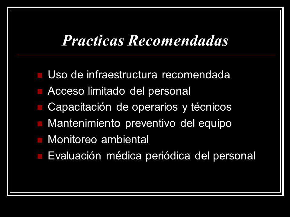 Practicas Recomendadas Uso de infraestructura recomendada Uso de infraestructura recomendada Acceso limitado del personal Acceso limitado del personal