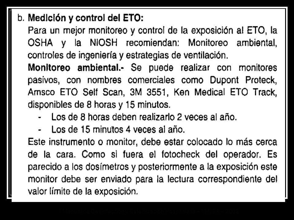 * Manual de Desinfección y Esterilización Hospitalaria – MINSA – 2002