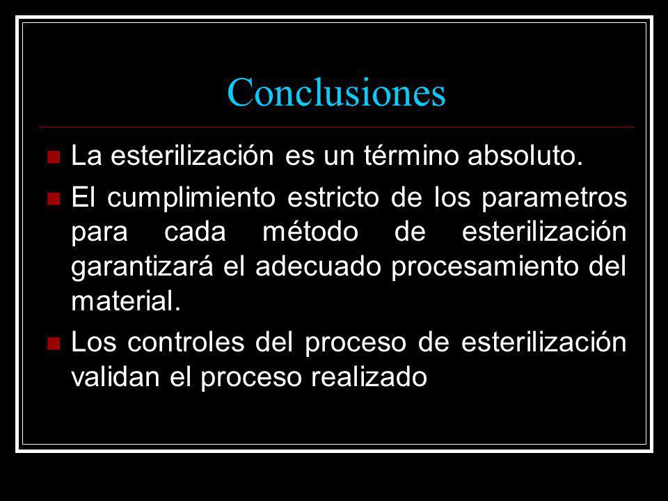 Conclusiones La esterilización es un término absoluto. El cumplimiento estricto de los parametros para cada método de esterilización garantizará el ad