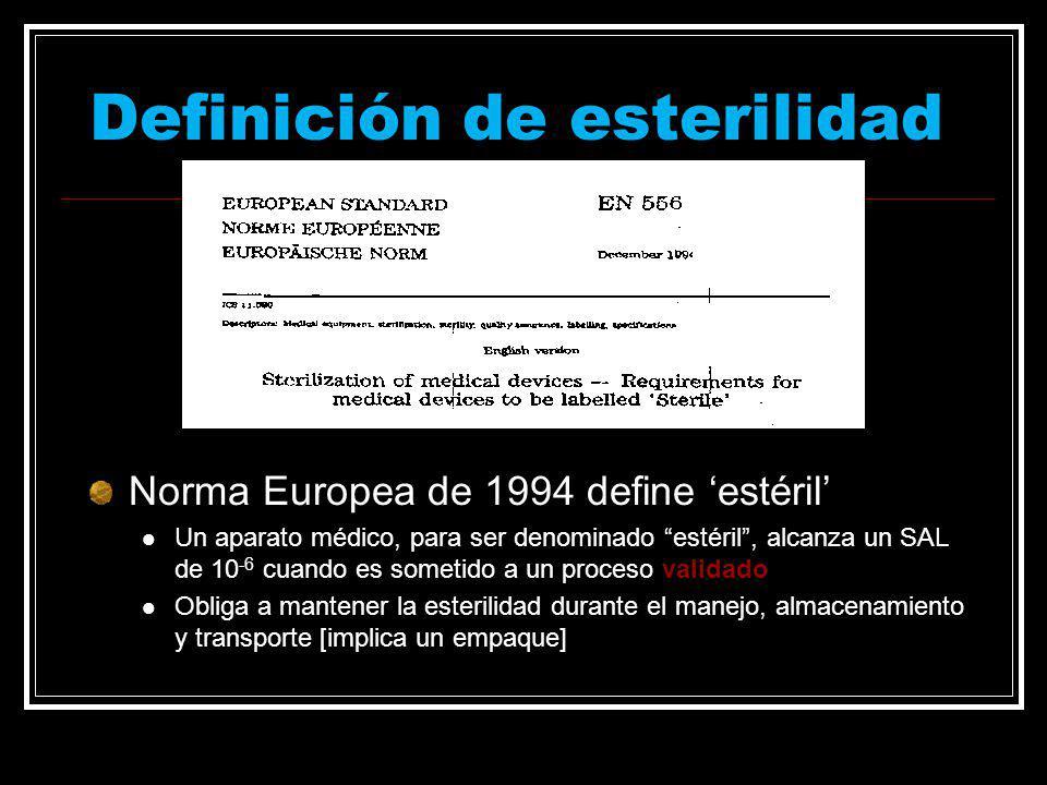 Definición de esterilidad Norma Europea de 1994 define estéril Un aparato médico, para ser denominado estéril, alcanza un SAL de 10 -6 cuando es somet