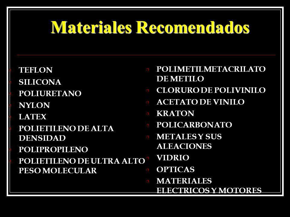 Materiales Recomendados D TEFLON D SILICONA D POLIURETANO D NYLON D LATEX D POLIETILENO DE ALTA DENSIDAD D POLIPROPILENO D POLIETILENO DE ULTRA ALTO P