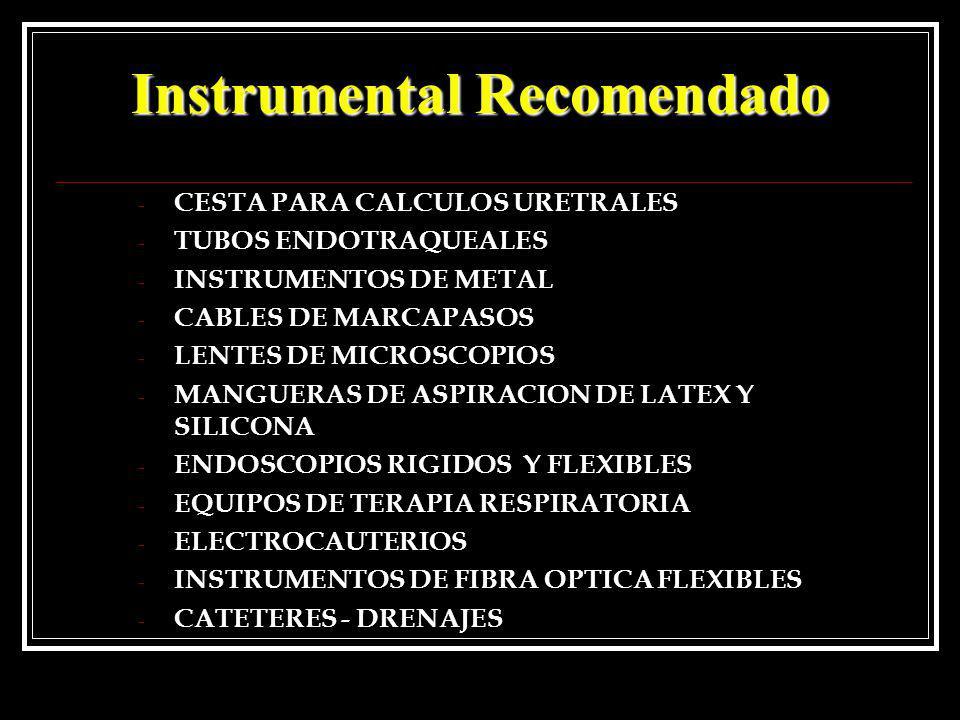 - CESTA PARA CALCULOS URETRALES - TUBOS ENDOTRAQUEALES - INSTRUMENTOS DE METAL - CABLES DE MARCAPASOS - LENTES DE MICROSCOPIOS - MANGUERAS DE ASPIRACI