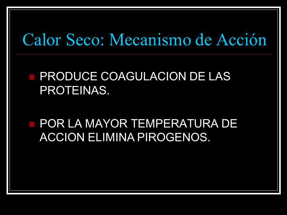 Calor Seco: Mecanismo de Acción PRODUCE COAGULACION DE LAS PROTEINAS. POR LA MAYOR TEMPERATURA DE ACCION ELIMINA PIROGENOS.
