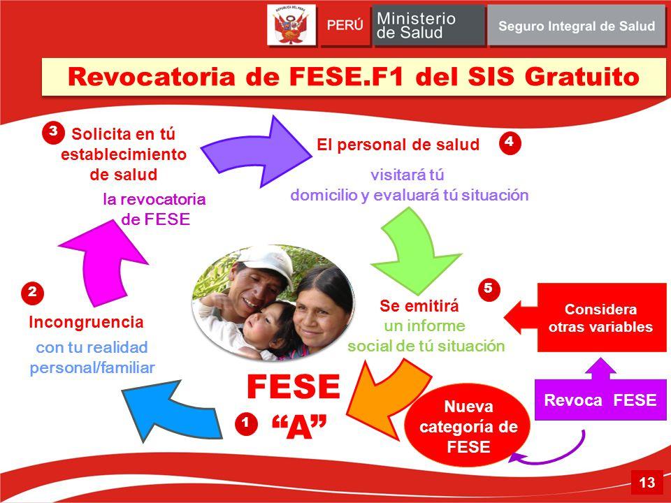Incongruencia Nueva categoría de FESE Revocatoria de FESE.F1 del SIS Gratuito Solicita en tú establecimiento de salud El personal de salud Se emitirá