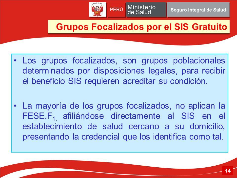 Grupos Focalizados por el SIS Gratuito 14 Los grupos focalizados, son grupos poblacionales determinados por disposiciones legales, para recibir el ben