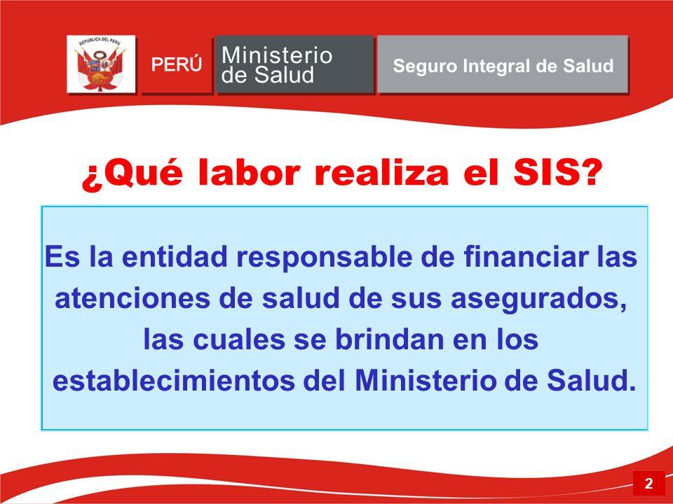 Es la entidad responsable de financiar las atenciones de salud de sus asegurados, las cuales se brindan en los establecimientos del Ministerio de Salu
