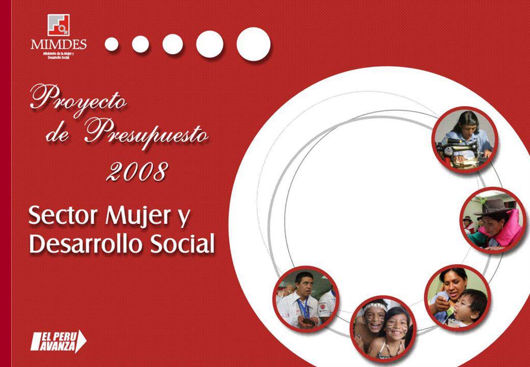 PROYECTO PRESUPUESTO 2008 SECTOR MIMDES TRANSFERENCIAS SECTORIALES 2008 PROGRAMAS MONTO S/.
