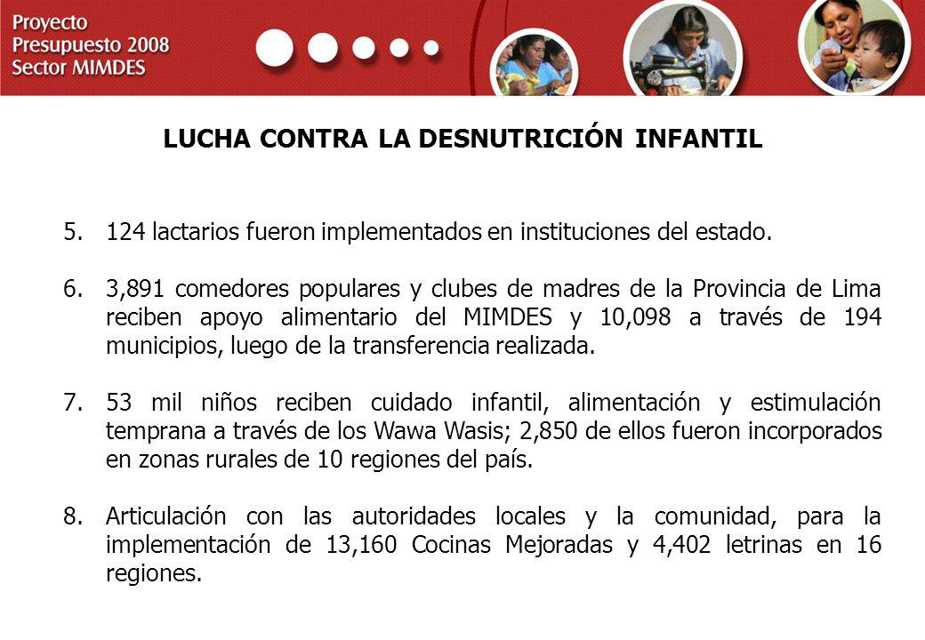 PROYECTO PRESUPUESTO 2008 SECTOR MIMDES LUCHA CONTRA LA DESNUTRICIÓN INFANTIL 5.124 lactarios fueron implementados en instituciones del estado. 6.3,89