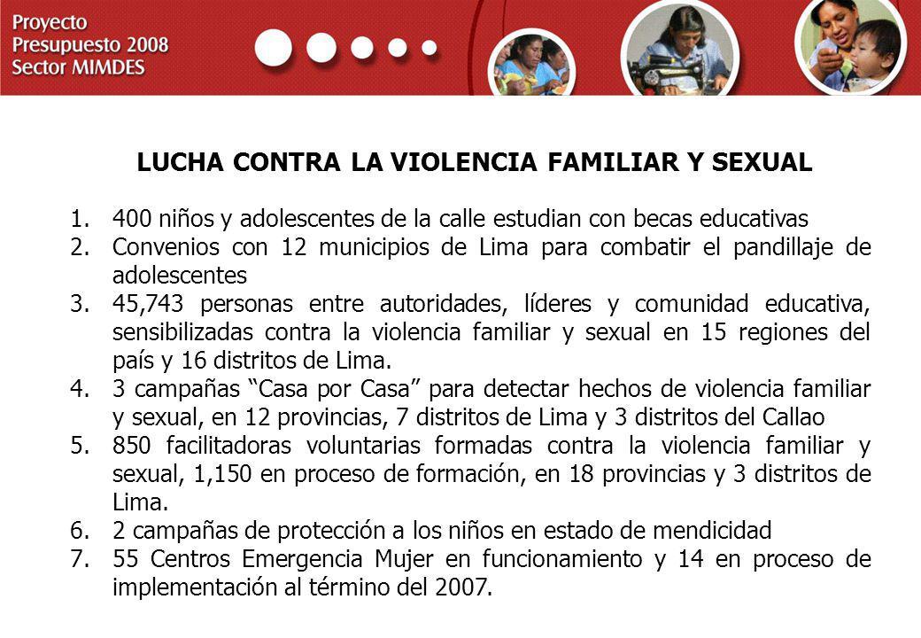PROYECTO PRESUPUESTO 2008 SECTOR MIMDES LUCHA CONTRA LA VIOLENCIA FAMILIAR Y SEXUAL 1.400 niños y adolescentes de la calle estudian con becas educativ