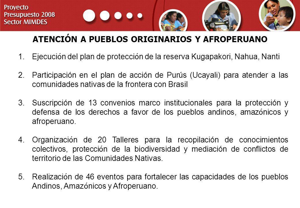PROYECTO PRESUPUESTO 2008 SECTOR MIMDES 1.Ejecuci ó n del plan de protecci ó n de la reserva Kugapakori, Nahua, Nanti 2.Participación en el plan de ac