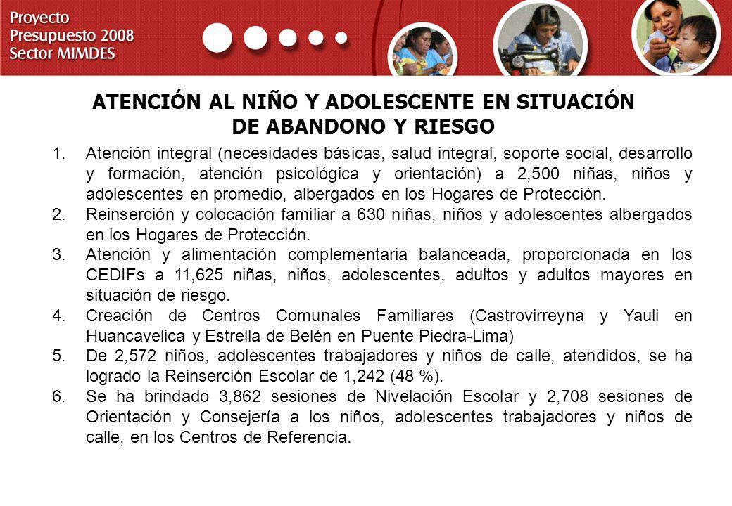 PROYECTO PRESUPUESTO 2008 SECTOR MIMDES ATENCIÓN AL NIÑO Y ADOLESCENTE EN SITUACIÓN DE ABANDONO Y RIESGO 1.Atención integral (necesidades básicas, sal