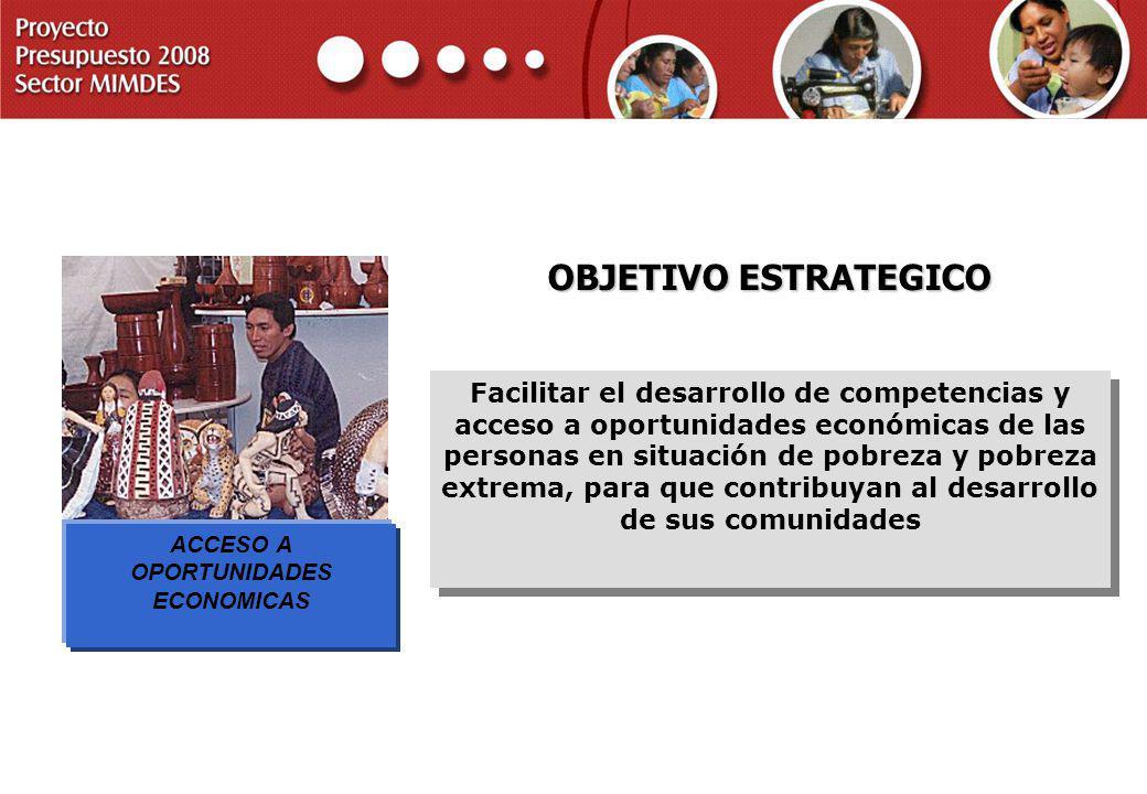 PROYECTO PRESUPUESTO 2008 SECTOR MIMDES OBJETIVO ESTRATEGICO Facilitar el desarrollo de competencias y acceso a oportunidades económicas de las person