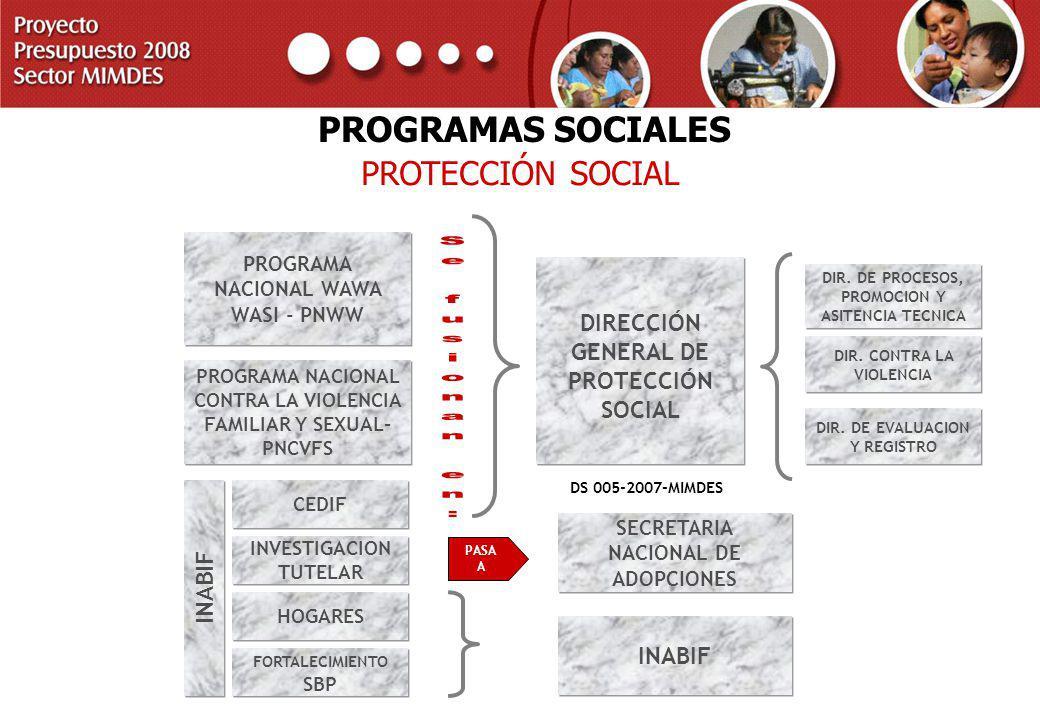 PROYECTO PRESUPUESTO 2008 SECTOR MIMDES PROTECCIÓN SOCIAL PROGRAMAS SOCIALES PROGRAMA NACIONAL CONTRA LA VIOLENCIA FAMILIAR Y SEXUAL- PNCVFS PROGRAMA