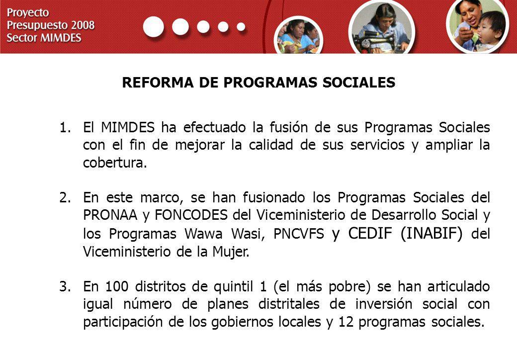 PROYECTO PRESUPUESTO 2008 SECTOR MIMDES REFORMA DE PROGRAMAS SOCIALES 1.El MIMDES ha efectuado la fusión de sus Programas Sociales con el fin de mejor