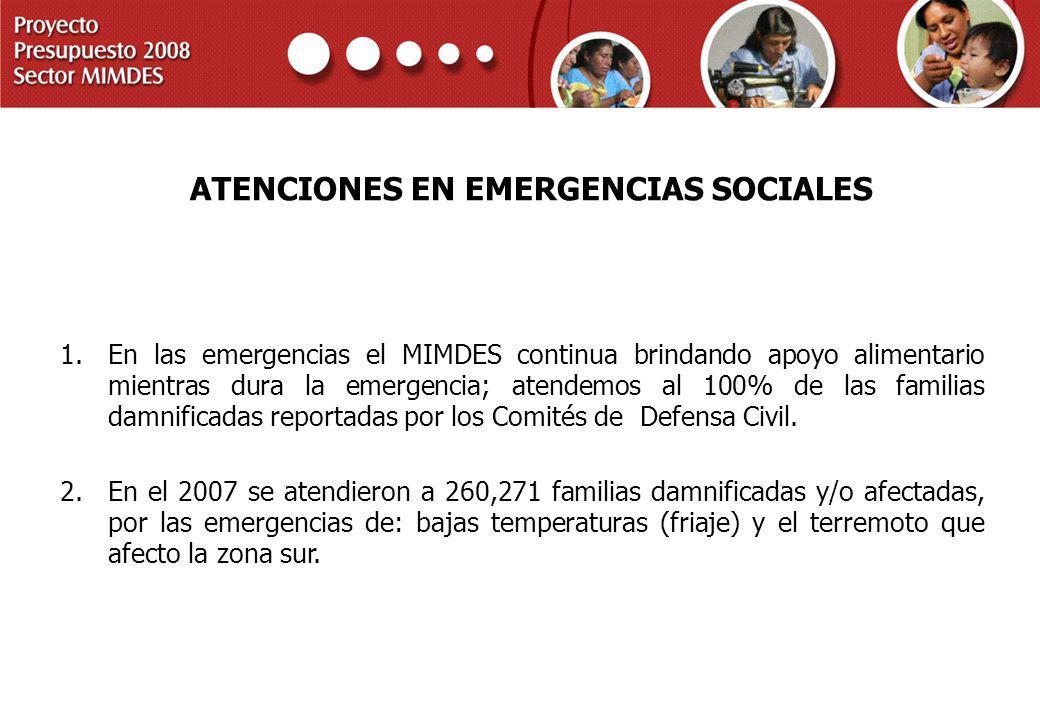 PROYECTO PRESUPUESTO 2008 SECTOR MIMDES ATENCIONES EN EMERGENCIAS SOCIALES 1.En las emergencias el MIMDES continua brindando apoyo alimentario mientra