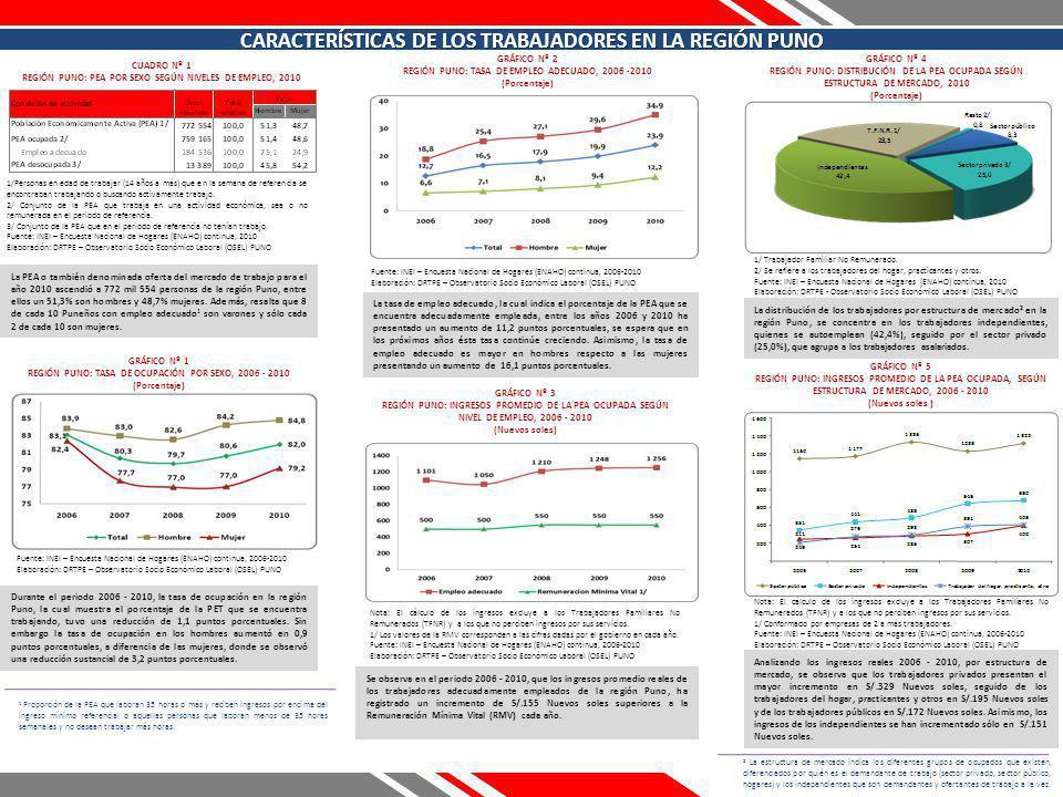CUADRO Nº 1 REGIÓN PUNO: PEA POR SEXO SEGÚN NIVELES DE EMPLEO, 2010 La PEA o también denominada oferta del mercado de trabajo para el año 2010 ascendió a 772 mil 554 personas de la región Puno, entre ellos un 51,3% son hombres y 48,7% mujeres.