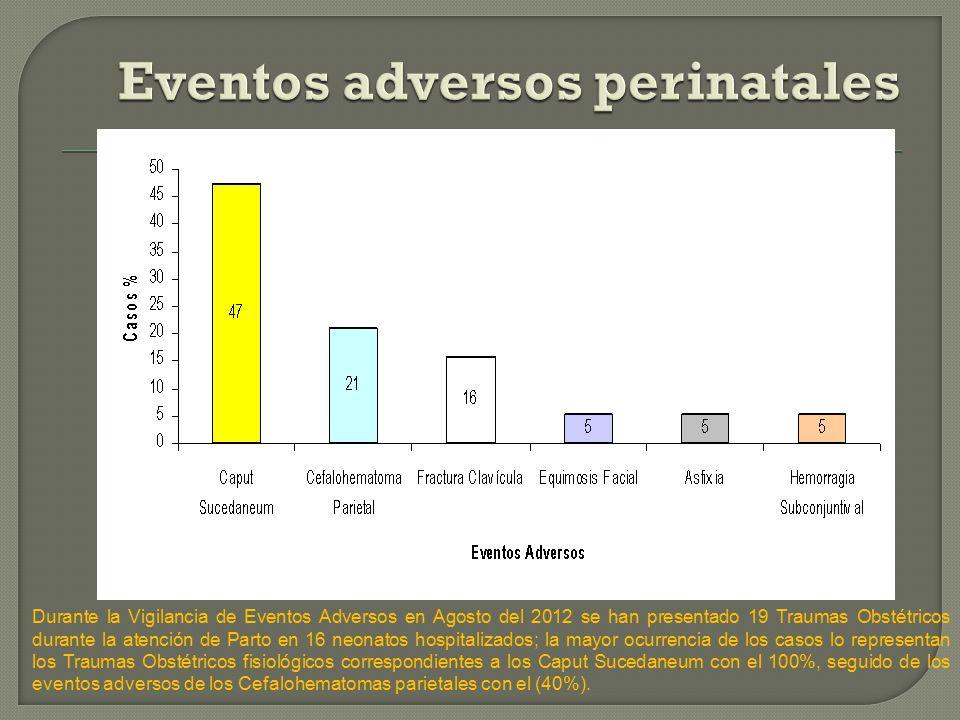 Durante la Vigilancia de Eventos Adversos en Agosto del 2012 se han presentado 19 Traumas Obstétricos durante la atención de Parto en 16 neonatos hospitalizados; la mayor ocurrencia de los casos lo representan los Traumas Obstétricos fisiológicos correspondientes a los Caput Sucedaneum con el 100%, seguido de los eventos adversos de los Cefalohematomas parietales con el (40%).