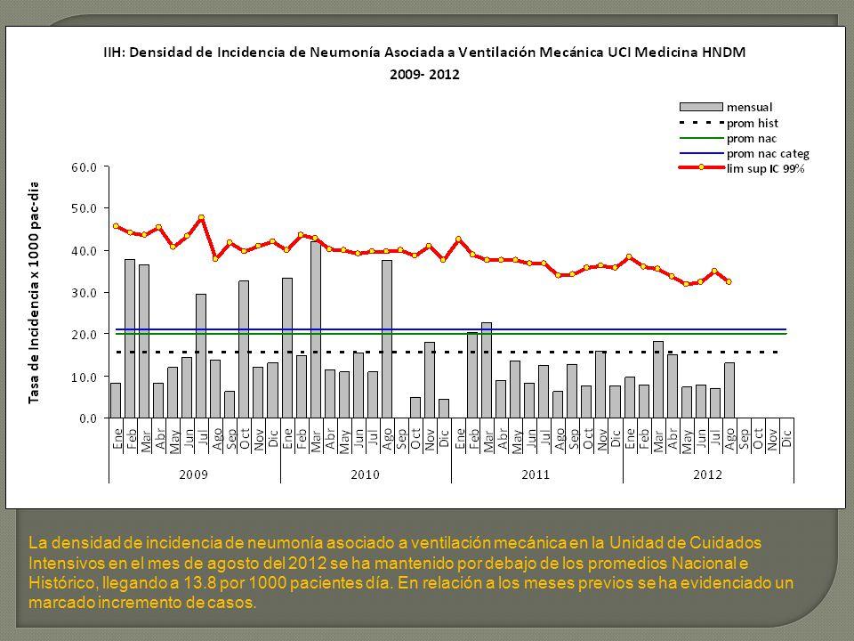 La densidad de incidencia de neumonía asociado a ventilación mecánica en la Unidad de Cuidados Intensivos en el mes de agosto del 2012 se ha mantenido por debajo de los promedios Nacional e Histórico, llegando a 13.8 por 1000 pacientes día.