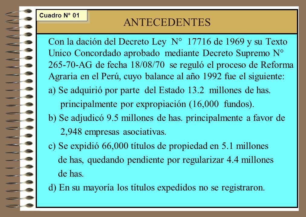 ANTECEDENTES Con la dación del Decreto Ley N° 17716 de 1969 y su Texto Unico Concordado aprobado mediante Decreto Supremo N° 265-70-AG de fecha 18/08/