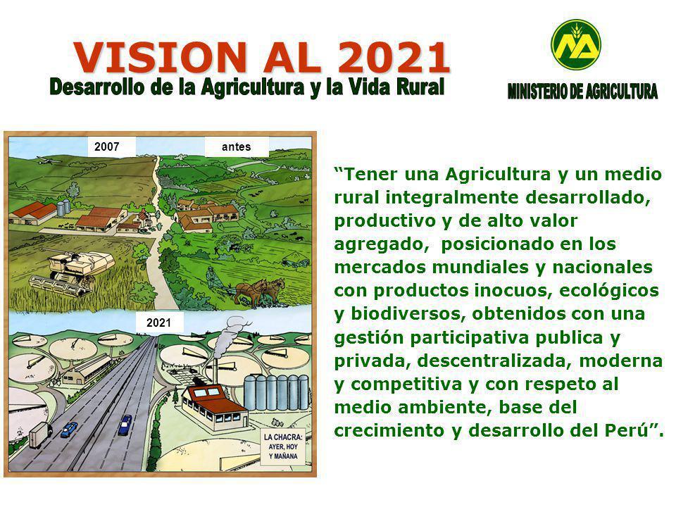 VISION AL 2021 2007antes 2021 Tener una Agricultura y un medio rural integralmente desarrollado, productivo y de alto valor agregado, posicionado en los mercados mundiales y nacionales con productos inocuos, ecológicos y biodiversos, obtenidos con una gestión participativa publica y privada, descentralizada, moderna y competitiva y con respeto al medio ambiente, base del crecimiento y desarrollo del Perú.