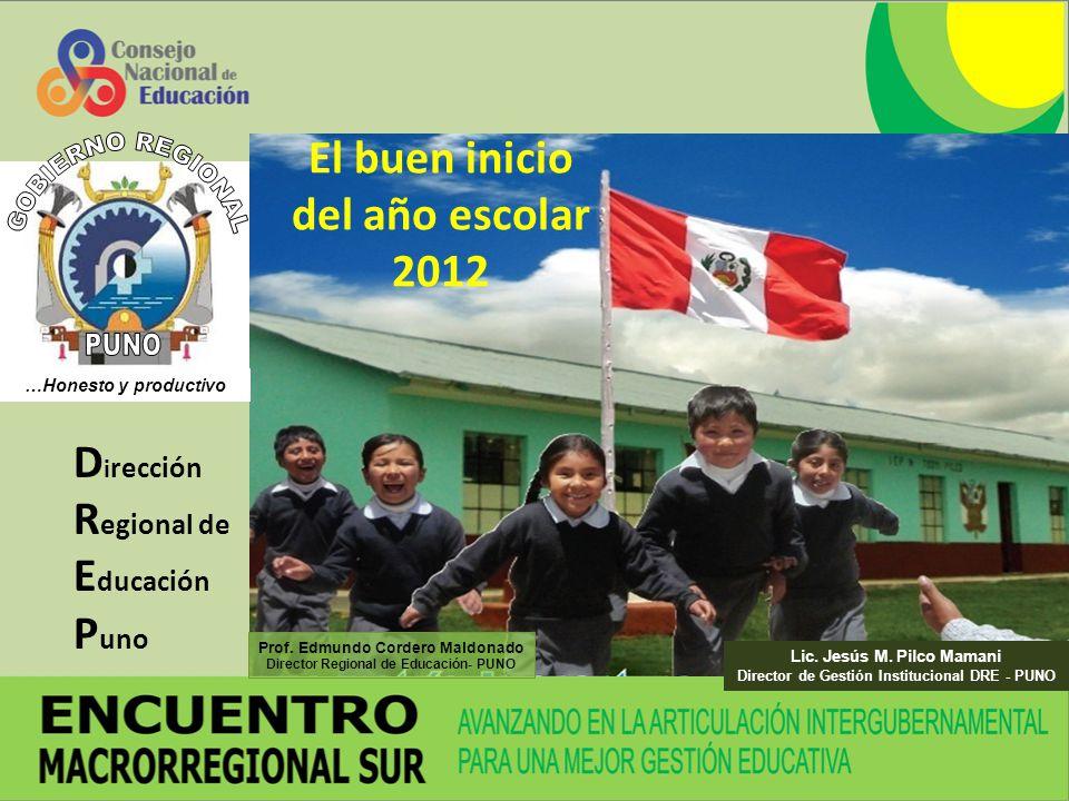 D i rección R egional de E ducación P uno El buen inicio del año escolar 2012 Lic. Jesús M. Pilco Mamani Director de Gestión Institucional DRE - PUNO