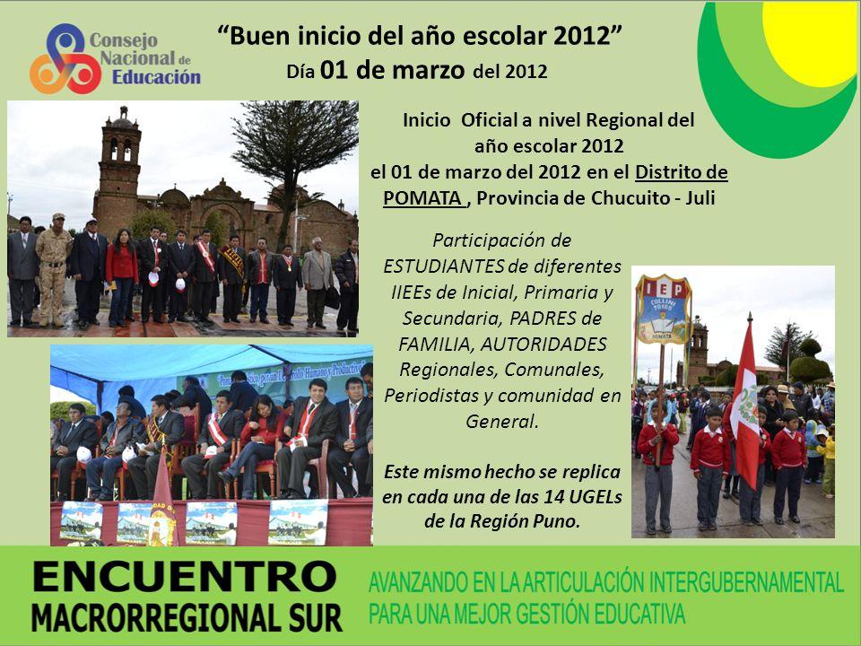 Buen inicio del año escolar 2012 Día 01 de marzo del 2012 Inicio Oficial a nivel Regional del año escolar 2012 el 01 de marzo del 2012 en el Distrito