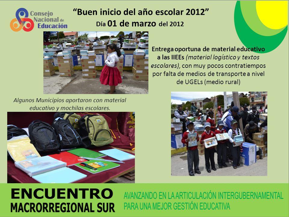 Buen inicio del año escolar 2012 Día 01 de marzo del 2012 Entrega oportuna de material educativo a las IIEEs (material logístico y textos escolares),