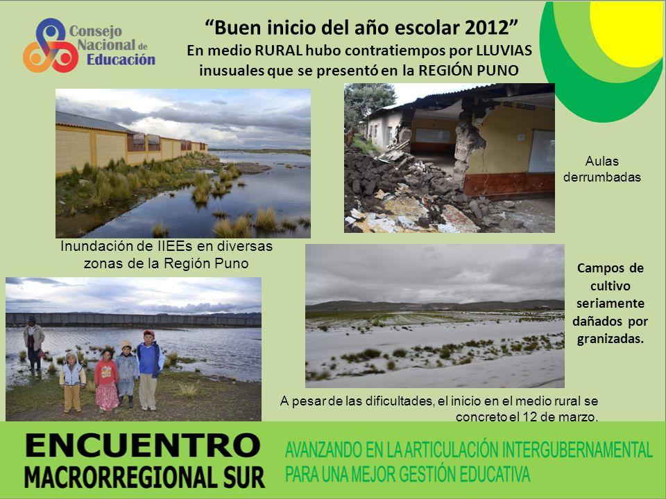 Buen inicio del año escolar 2012 En medio RURAL hubo contratiempos por LLUVIAS inusuales que se presentó en la REGIÓN PUNO Aulas derrumbadas Inundación de IIEEs en diversas zonas de la Región Puno Campos de cultivo seriamente dañados por granizadas.