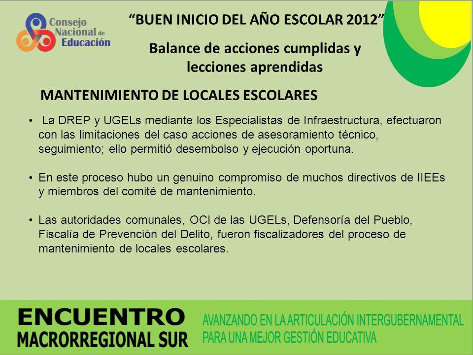 BUEN INICIO DEL AÑO ESCOLAR 2012 Balance de acciones cumplidas y lecciones aprendidas La DREP y UGELs mediante los Especialistas de Infraestructura, e