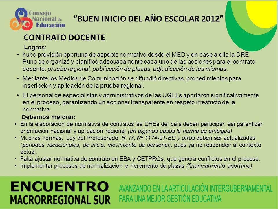 BUEN INICIO DEL AÑO ESCOLAR 2012 Logros: hubo previsión oportuna de aspecto normativo desde el MED y en base a ello la DRE Puno se organizó y planific