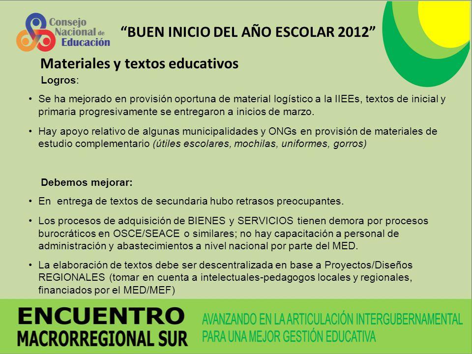 BUEN INICIO DEL AÑO ESCOLAR 2012 Logros: Se ha mejorado en provisión oportuna de material logístico a la IIEEs, textos de inicial y primaria progresiv