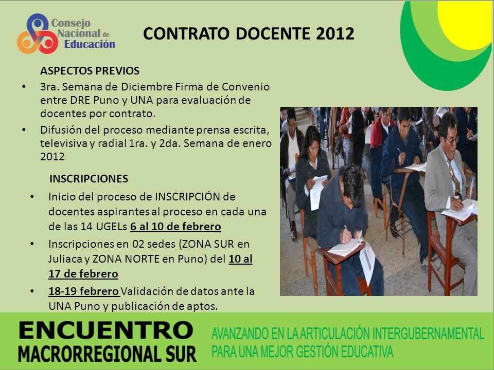 CONTRATO DOCENTE 2012 ASPECTOS PREVIOS 3ra. Semana de Diciembre Firma de Convenio entre DRE Puno y UNA para evaluación de docentes por contrato. Difus