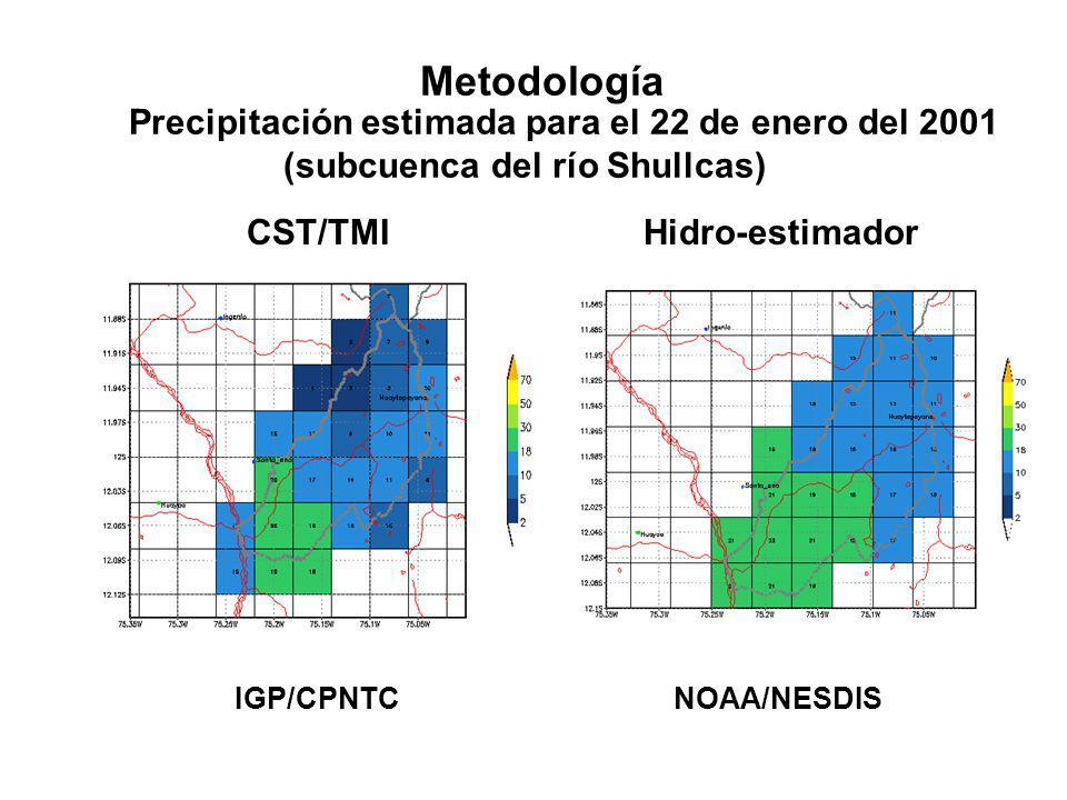Metodología IGP/CPNTC NOAA/NESDIS Precipitación estimada para el 22 de enero del 2001 (subcuenca del río Shullcas) CST/TMI Hidro-estimador