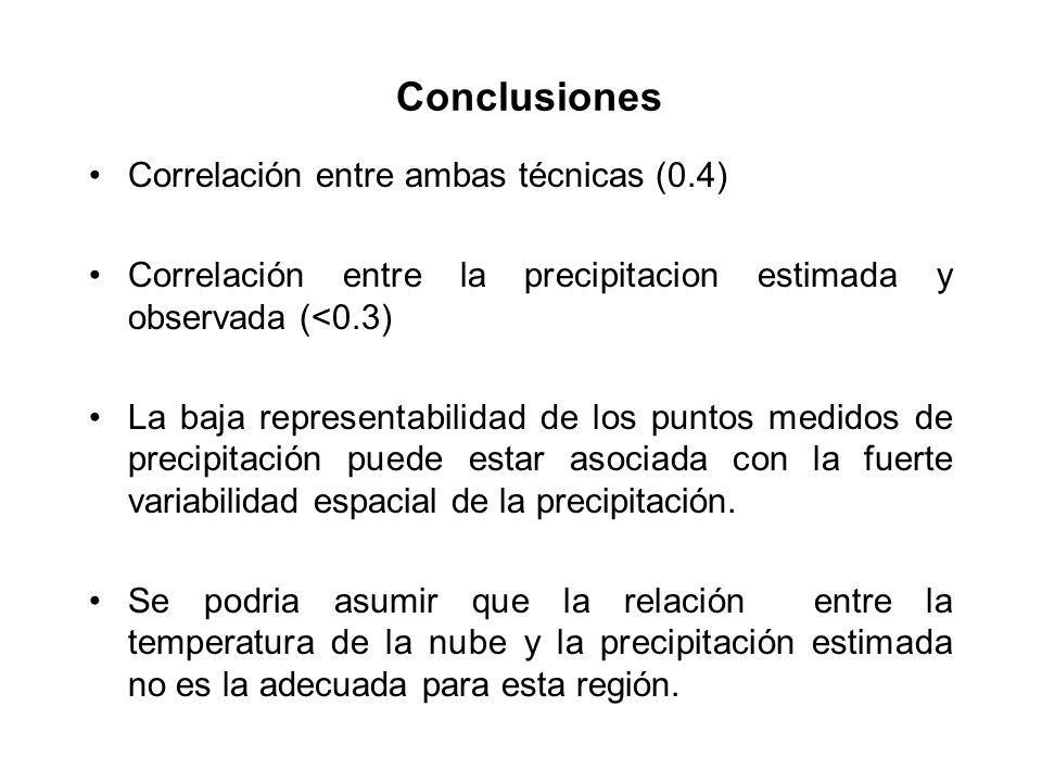 Correlación entre ambas técnicas (0.4) Correlación entre la precipitacion estimada y observada (<0.3) La baja representabilidad de los puntos medidos de precipitación puede estar asociada con la fuerte variabilidad espacial de la precipitación.