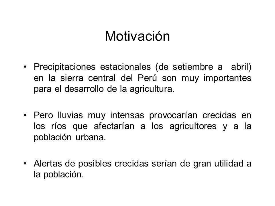 Motivación Precipitaciones estacionales (de setiembre a abril) en la sierra central del Perú son muy importantes para el desarrollo de la agricultura.