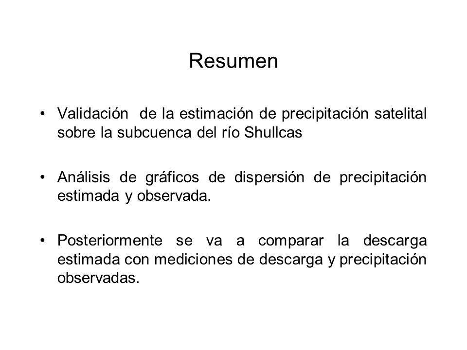 Resumen Validación de la estimación de precipitación satelital sobre la subcuenca del río Shullcas Análisis de gráficos de dispersión de precipitación estimada y observada.