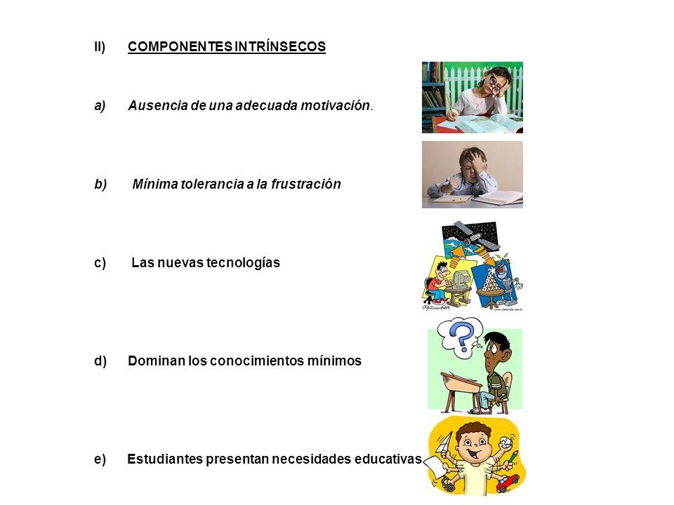 II)COMPONENTES INTRÍNSECOS a)Ausencia de una adecuada motivación.