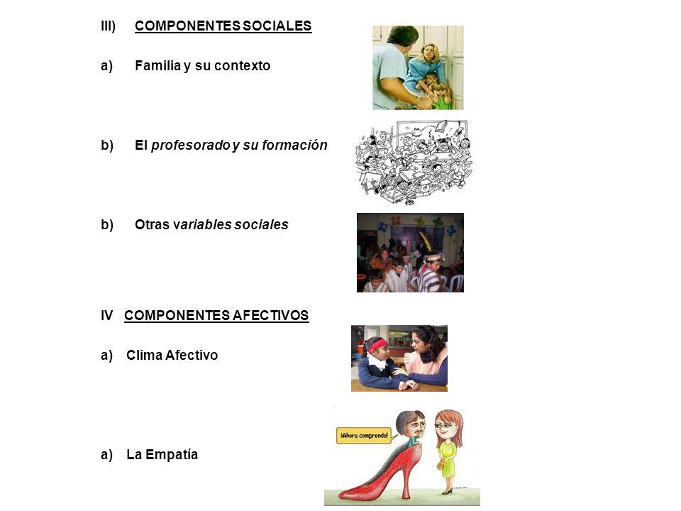 III)COMPONENTES SOCIALES a)Familia y su contexto b)El profesorado y su formación b)Otras variables sociales IV COMPONENTES AFECTIVOS a)Clima Afectivo a)La Empatía