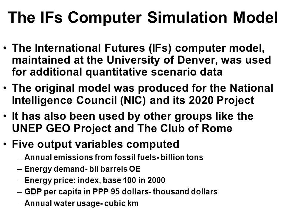 The IFs Computer Simulation Model The International Futures (IFs) computer model, maintained at the University of Denver, was used for additional quantitative scenario data The original model was produced for the National Intelligence Council (NIC) and its 2020 Project It has also been used by other groups like the UNEP GEO Project and The Club of Rome Five output variables computed –Annual emissions from fossil fuels- billion tons –Energy demand- bil barrels OE –Energy price: index, base 100 in 2000 –GDP per capita in PPP 95 dollars- thousand dollars –Annual water usage- cubic km