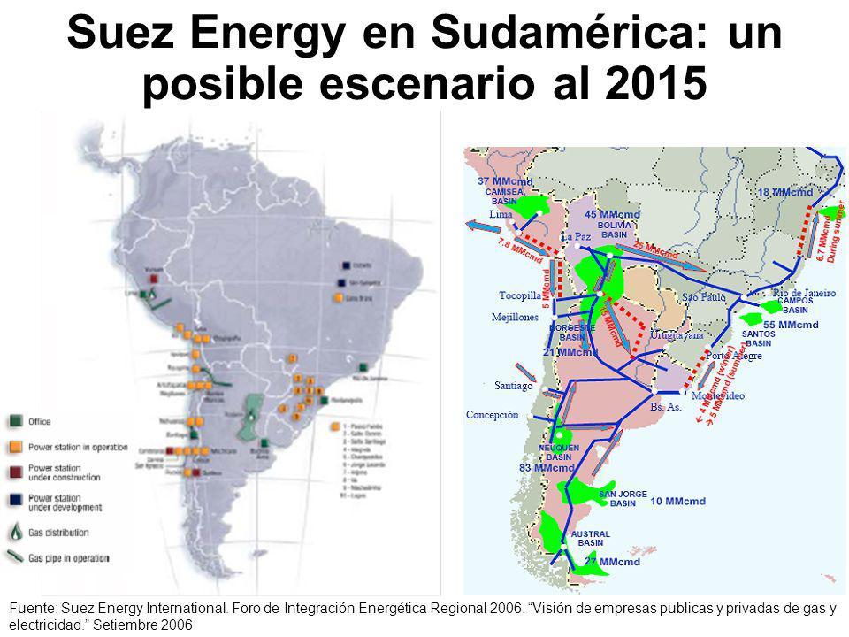 Suez Energy en Sudamérica: un posible escenario al 2015 Fuente: Suez Energy International.