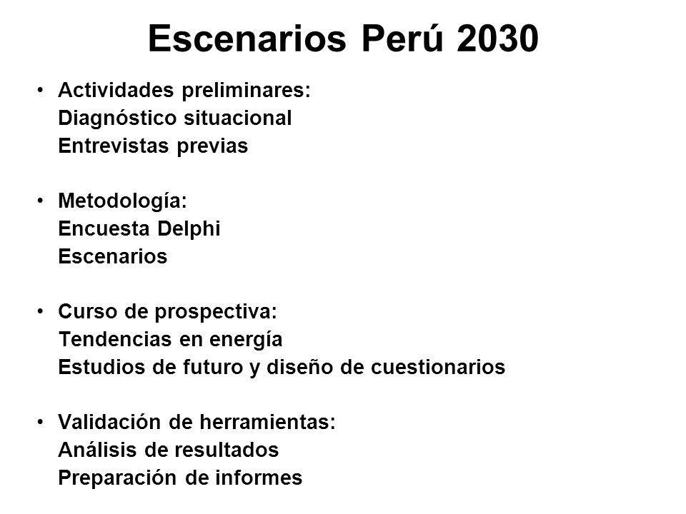 Escenarios Perú 2030 Actividades preliminares: Diagnóstico situacional Entrevistas previas Metodología: Encuesta Delphi Escenarios Curso de prospectiva: Tendencias en energía Estudios de futuro y diseño de cuestionarios Validación de herramientas: Análisis de resultados Preparación de informes