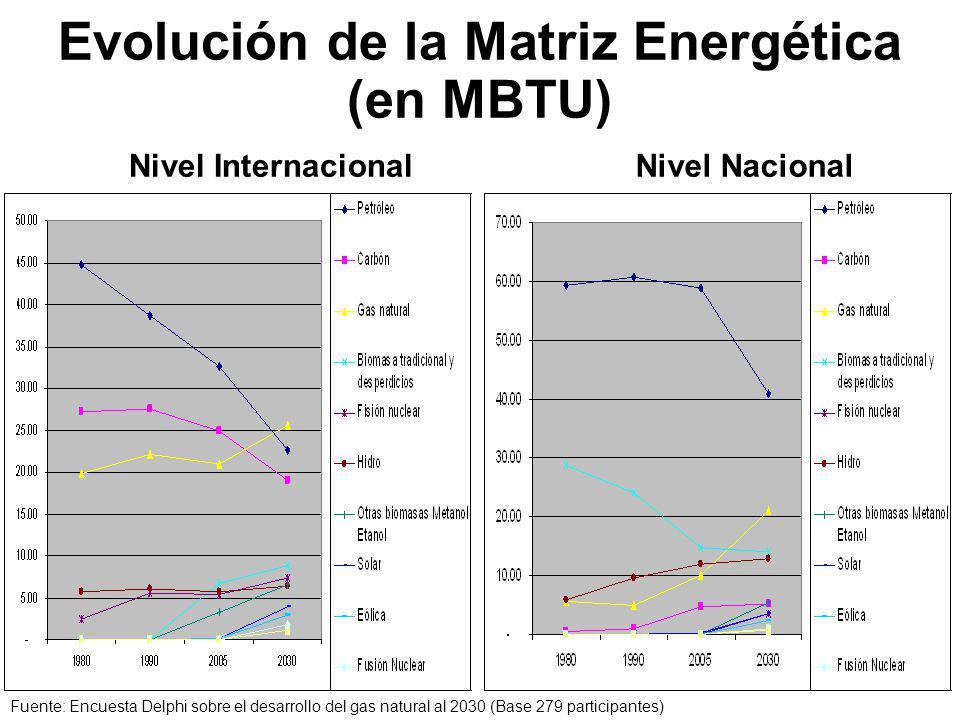 Evolución de la Matriz Energética (en MBTU) Nivel InternacionalNivel Nacional Fuente: Encuesta Delphi sobre el desarrollo del gas natural al 2030 (Base 279 participantes)