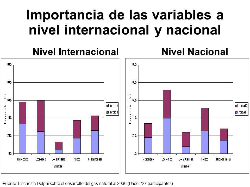 Importancia de las variables a nivel internacional y nacional Nivel InternacionalNivel Nacional Fuente: Encuesta Delphi sobre el desarrollo del gas natural al 2030 (Base 227 participantes)