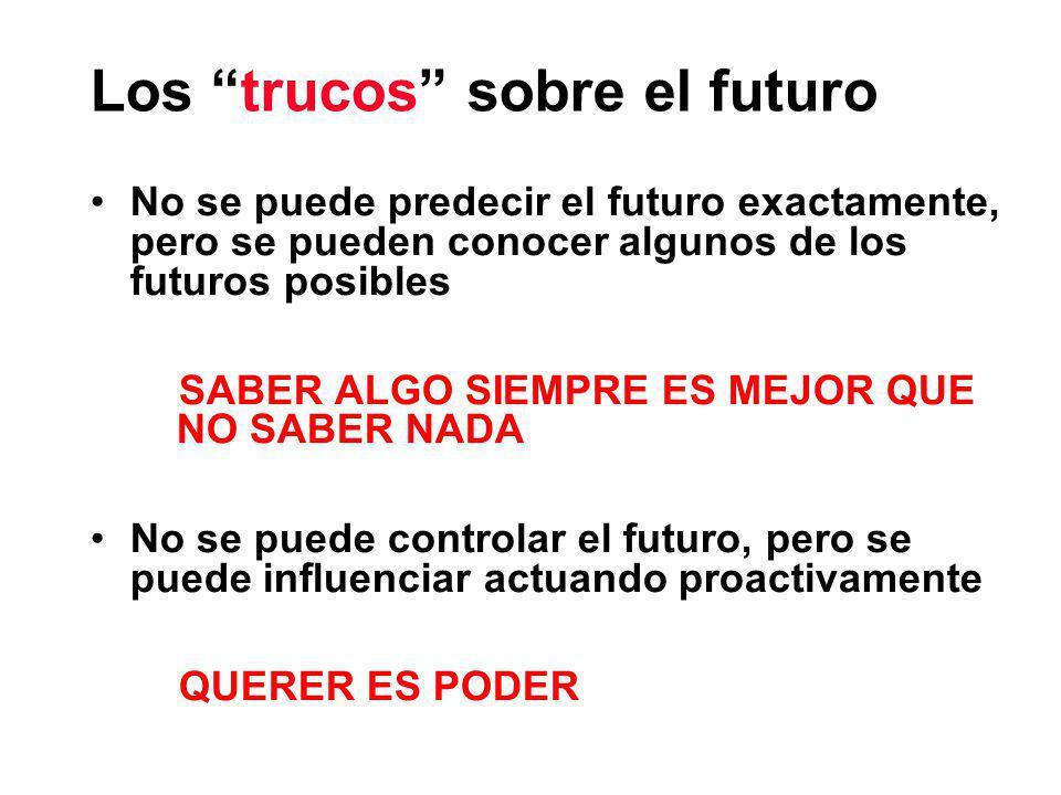Los trucos sobre el futuro No se puede predecir el futuro exactamente, pero se pueden conocer algunos de los futuros posibles SABER ALGO SIEMPRE ES MEJOR QUE NO SABER NADA No se puede controlar el futuro, pero se puede influenciar actuando proactivamente QUERER ES PODER