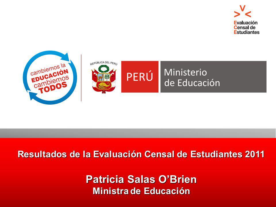 Resultados de la Evaluación Censal de Estudiantes 2011 Patricia Salas OBrien Ministra de Educación