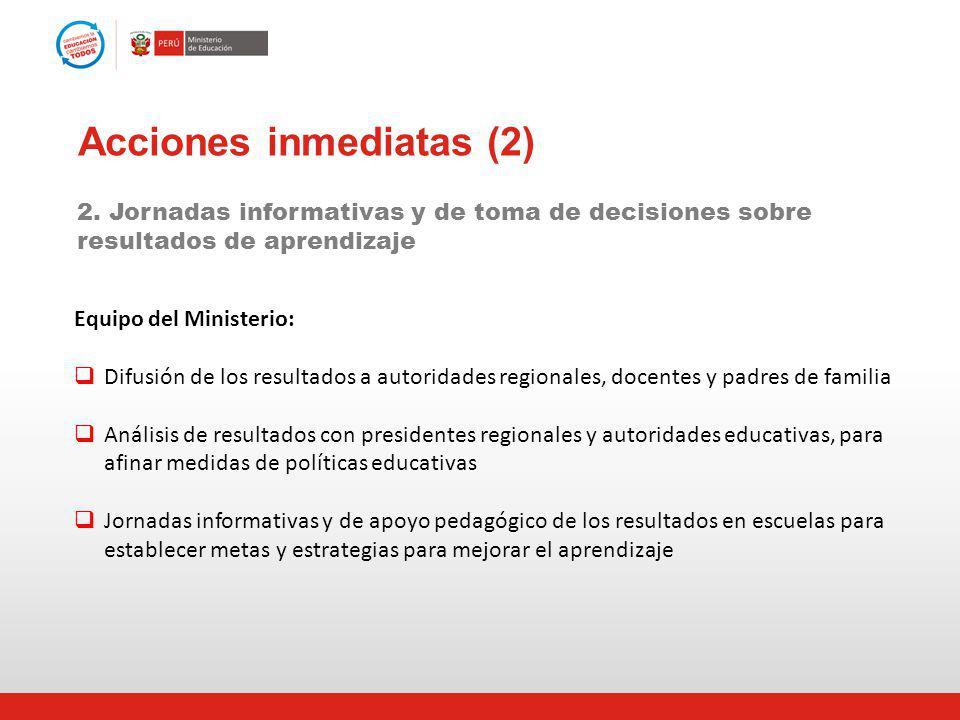 Acciones inmediatas (2) 2. Jornadas informativas y de toma de decisiones sobre resultados de aprendizaje Equipo del Ministerio: Difusión de los result