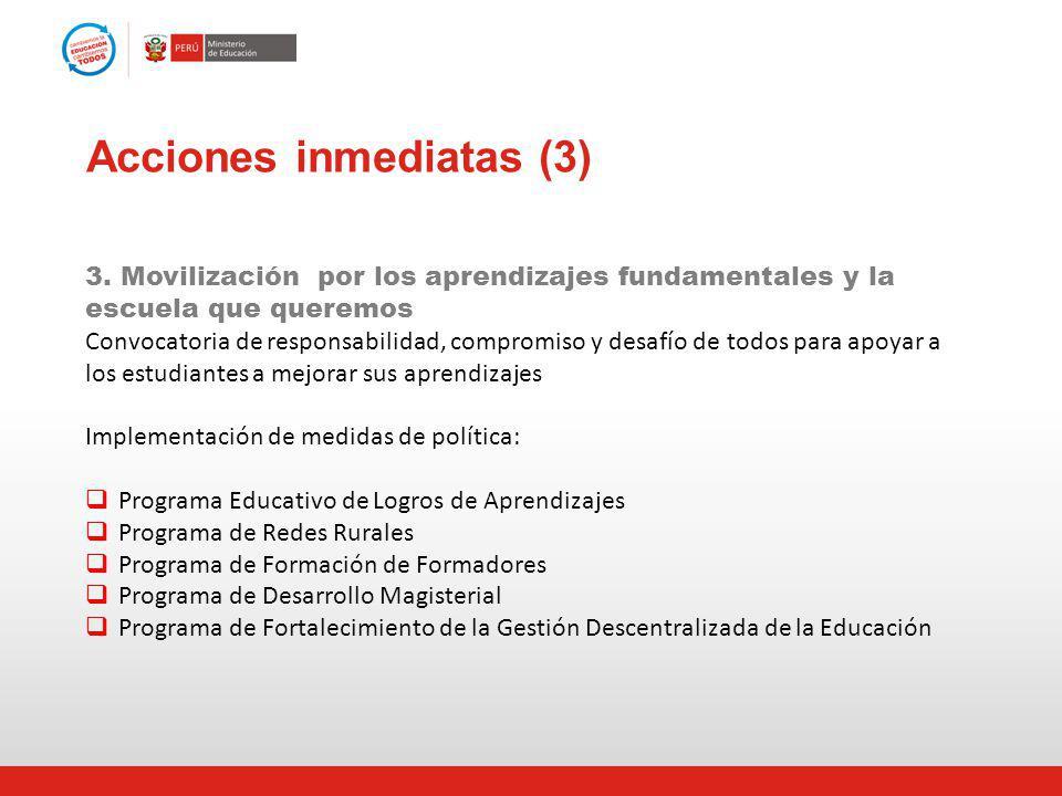Acciones inmediatas (3) 3. Movilización por los aprendizajes fundamentales y la escuela que queremos Convocatoria de responsabilidad, compromiso y des