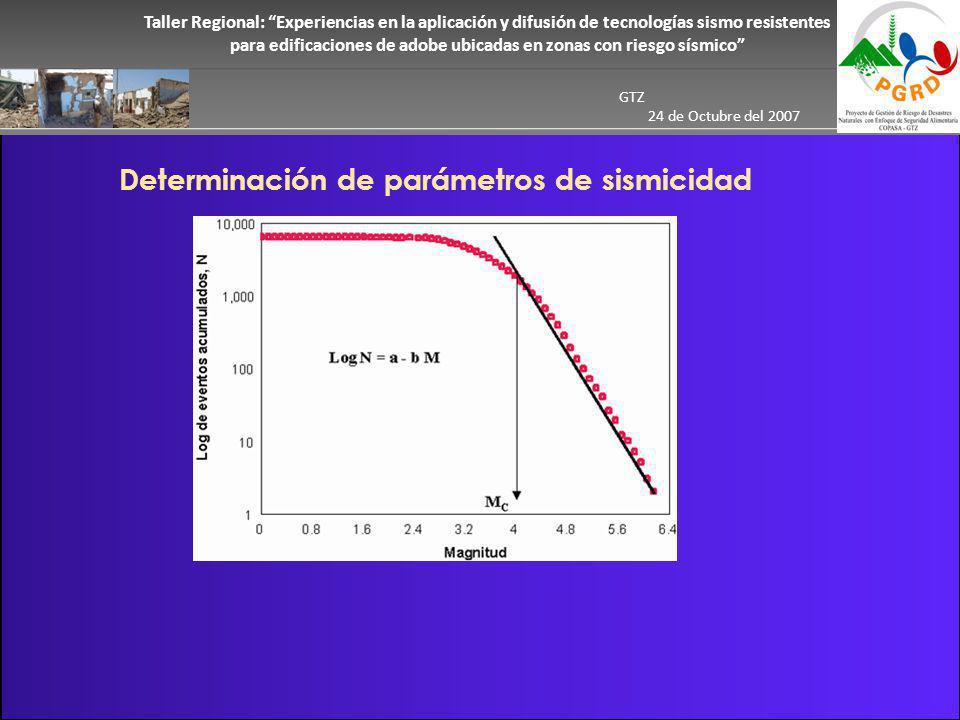 Taller Regional: Experiencias en la aplicación y difusión de tecnologías sismo resistentes para edificaciones de adobe ubicadas en zonas con riesgo sísmico GTZ 24 de Octubre del 2007 Determinación de parámetros de sismicidad