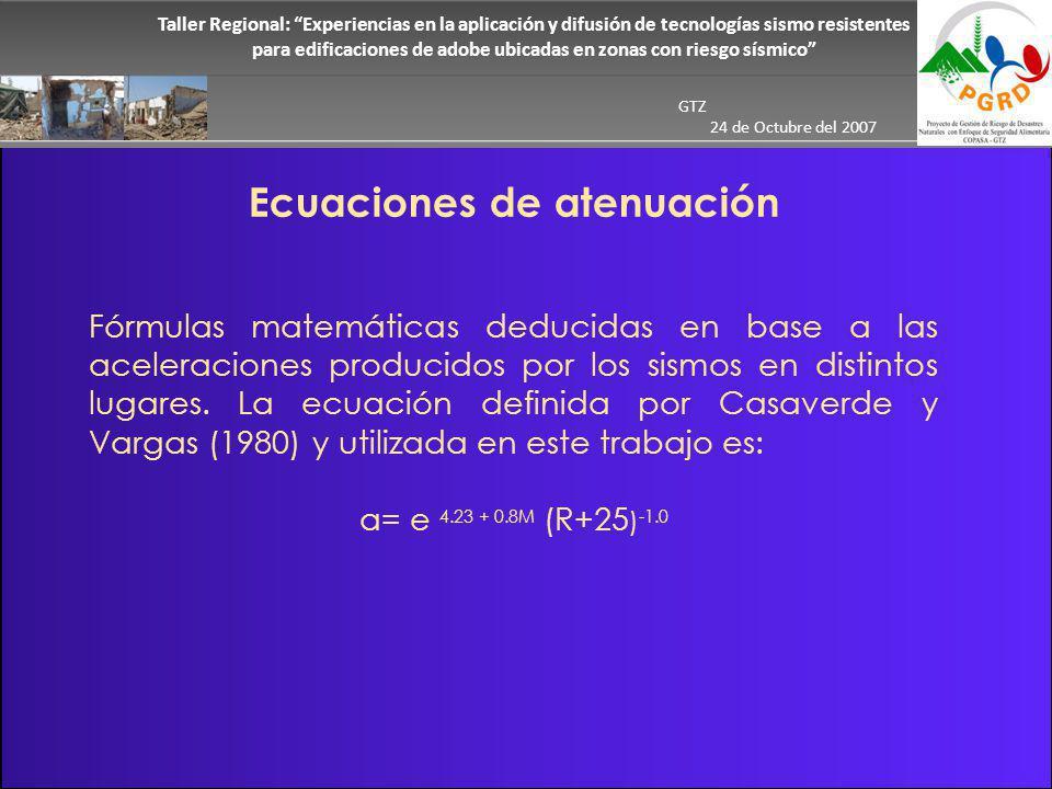 Taller Regional: Experiencias en la aplicación y difusión de tecnologías sismo resistentes para edificaciones de adobe ubicadas en zonas con riesgo sísmico GTZ 24 de Octubre del 2007 Ecuaciones de atenuación Fórmulas matemáticas deducidas en base a las aceleraciones producidos por los sismos en distintos lugares.
